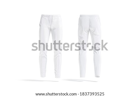 Blank white sport pants mockup, front and back view, 3d rendering. Empty fitness jersey trousers or joggers mock up, isolated. Clear comfortable sporty trackies for jogging template. Photo stock ©