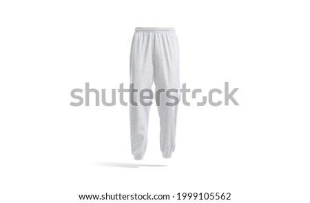 Blank white sport sweatpants mockup, front view, 3d rendering. Empty gray fleece or textile trackpants for fitness mock up, isolated. Clear sporty melange daks or slacks template. Stockfoto ©