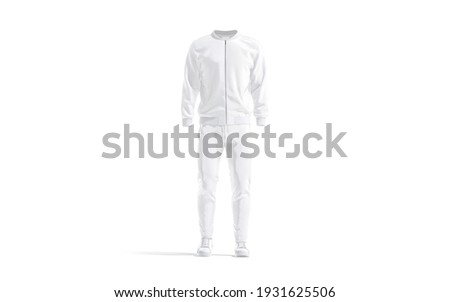 Blank white sport tracksuit with bomber, pants and sneakers mockup, 3d rendering. Empty male jersey fitness costume mock up, isolated, front view. Clear outwear sports suit template. Stock photo ©