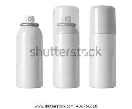 Blank white  spray can isolated on white background, Aerosol Spray Can , Metal Bottle Paint Can Realistic photo image