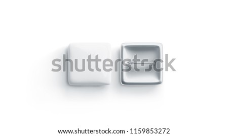 Blank white square badge mock up, front and back side, isolated, 3d rendering. Empty clear pin emblem mock up top view. Quadratic plastic volunteer label template.