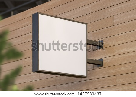 Blank white square store signboard. Illuminated lightbox on a wooden wall. Mock up. 3d rendering