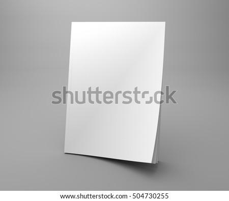 Blank white standing cover magazine 3D illustration mock-up.