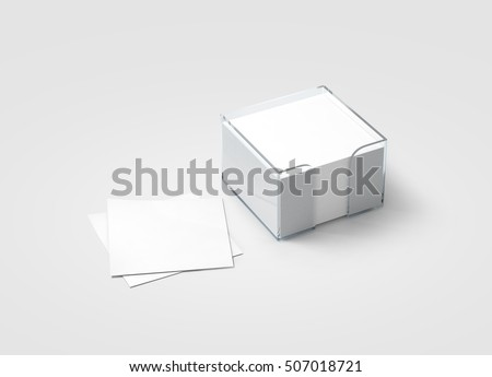 Blank white sticker note block plastic holder mockup, clipping path, 3d rendering. Plain office memo in transparent glass box mock up. Post it notes template. Loose adhesive papers for logo design.