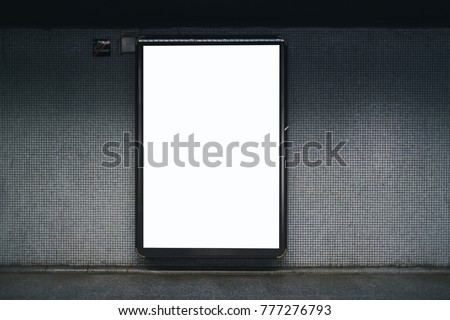 Blank white subway indoor advertisement light box. Mock-up design.