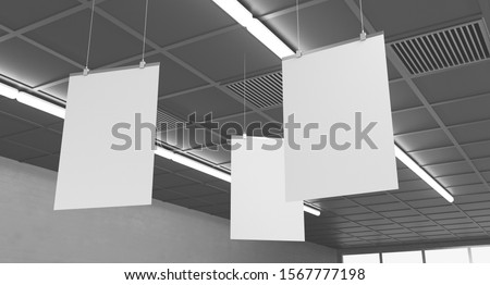 Blank White Supermarket Banners Hanging From Ceiling. Hangers Mockup Ready For Branding Or Advertising. 3D render