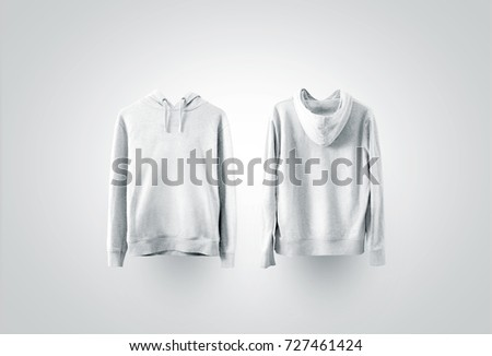 Blank white sweatshirt mockup set, front and back side view.  #727461424