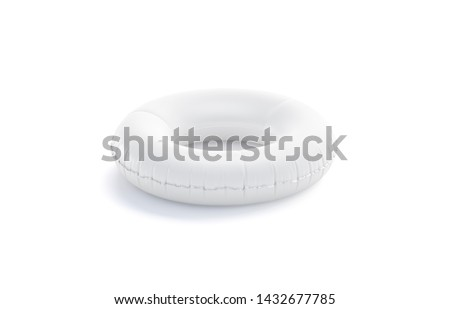 Blank white swim ring mock up isolated, side view, 3d rendering. Empty inflatable lifebuoy mockup for swimming . Clear safe rubber circle mock-up for beach, aquapark, cruise, ship template.