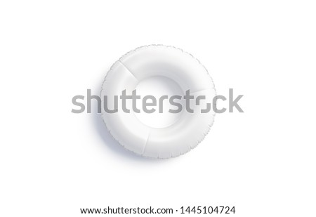 Blank white swim ring mock up isolated, top view, 3d rendering. Empty sport floaty circle mockup for swimmin. Clear rubber saver and preserver mokcup for water template. Stok fotoğraf ©
