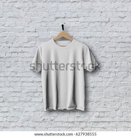 Shutterstock Blank white t-shirt hanging against a brick wall. 3D Rendering