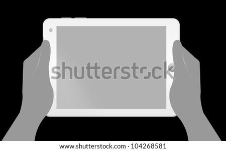 Blank White Tablet PC With Hand Isolate on Black Background