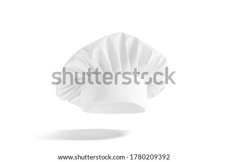 Blank white toque chef hat mockup, no gravity, 3d rendering. Empty professional french chief cap uniform mock up, isolated. Clear fabric headwear for restaurant cooker template. Foto stock ©