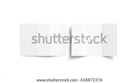 Blank white tri folded booklet mock up, opened and closed, front and back side, top view, 3d rendering. Plain trifold brochures mockups set isolated. Book cover and three flier inside, copy space.