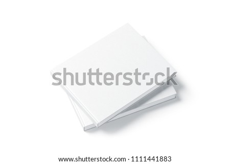 Blank white two rectangular book mockup stack, top side view, 3d rendering. Empty notebook on each other hard cover mockup, isolated. Blank bookstore branding template