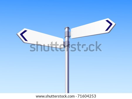 Blank white two road signs - see vector in portfolio