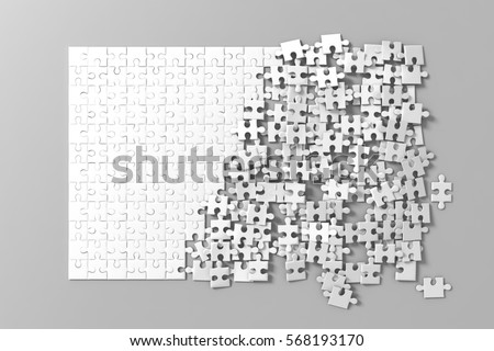Blank white unfinished puzzles game mockup, connecting together, 3d rendering. Clear jigsaw pieces merging, design mock up. Big desktop toy template.