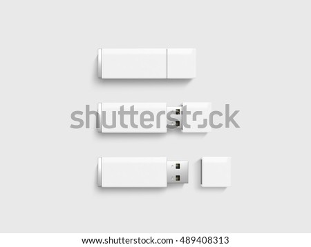 Blank white usb drive design mock up set, 3d rendering. Clear plastic flash disk template opened, closed. Plain memory device mockup. Clean pen drive branding presentation. Micro card.