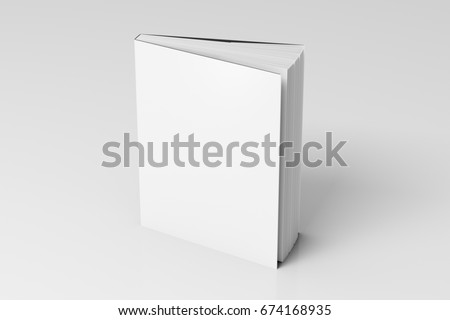 Blank white vertical dust jacket or dust wrapper standing book. Isolated with clipping path around book. 3d illustration.