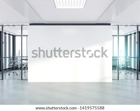 Blank white wall in bright concrete office with large windows Mockup 3D rendering Stockfoto ©