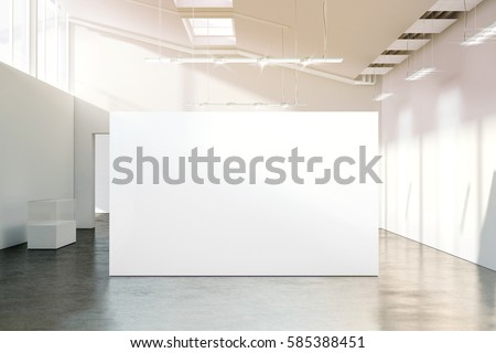 Blank white wall mockup in sunny modern empty museum, 3d rendering. Clear big stand mock up in gallery with contemporary art exhibitions. Large hall interior with wide banner exposition template.