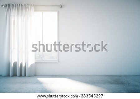 Blank white wall with window and concrete floor, mock up, 3d render #383545297