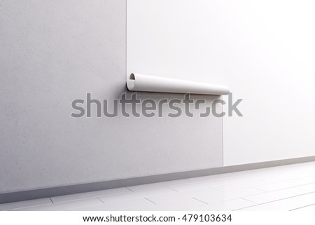 Blank white wallpaper hanging on the wall mock up, side view, clipping path, 3d rendering. Paperhanging surface mockup. Home decoration tapestry scroll template. Blanket canvas in the room interior.