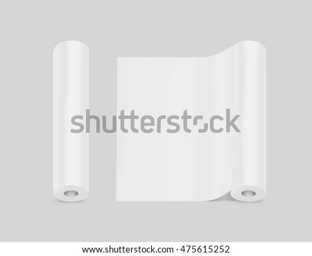 Blank white wallpaper rolls design mock up, isolated, clipping path, 3d illustration. Wallpapering paper surface mockup.