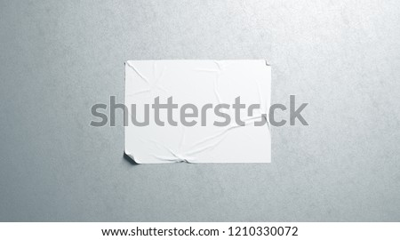 Blank white wheatpaste adhesive horizontal poster mockup on textured wall, 3d rendering. Empty glue placard mock up. Cinema or propaganda sticked banner. Crumpled paste display hanging on wal.