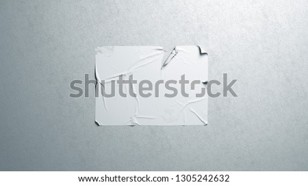 Blank white wheatpaste adhesive tear poster mockup on textured wall, 3d rendering. Empty ragged glue placard mock up. Clear horizontal creased display for signage or print design template.