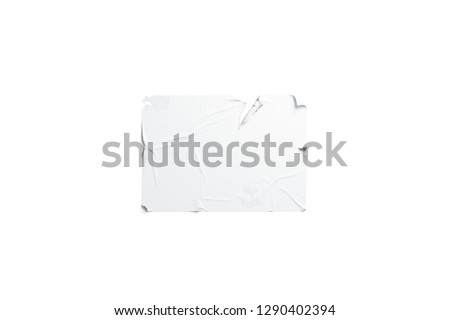 Blank white wheatpaste adhesive torn poster mockup, isolated, 3d rendering. Empty horizontal sticked signage mock up. Clear disrupted banner hanhing on wal template.