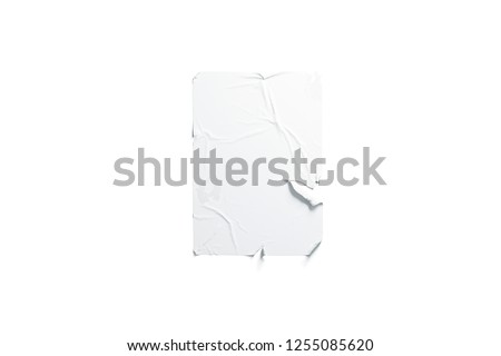 Blank white wheatpaste adhesive torn poster mockup, isolated, 3d rendering. Empty tear banner mock up. Clear grunde old sheet template. Hanging wallpaper for signage.