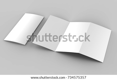 Blank white z fold brochure for mock up template design. 3d render illustration.
