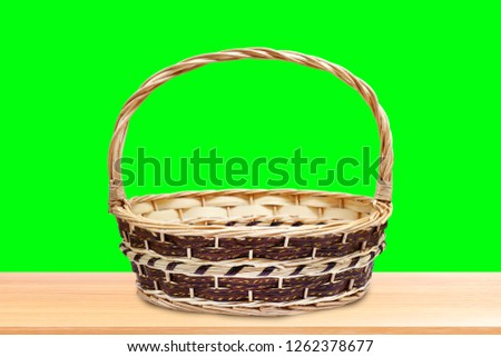 Blank Wicker baskets for Gift set pack up on wood table isolated on Green Screen Background, Crafts Bamboo basket weave on Green Screen Stock for Footage Video, Empty Gift Baskets Wicker for Souvenir