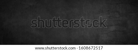 Blank wide screen Real chalkboard background texture in college concept back to school classroom wall for black friday white chalk text draw graphic. Grey gradient slate table blackboard bacground. Foto d'archivio ©