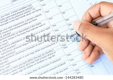 Blank with medical form