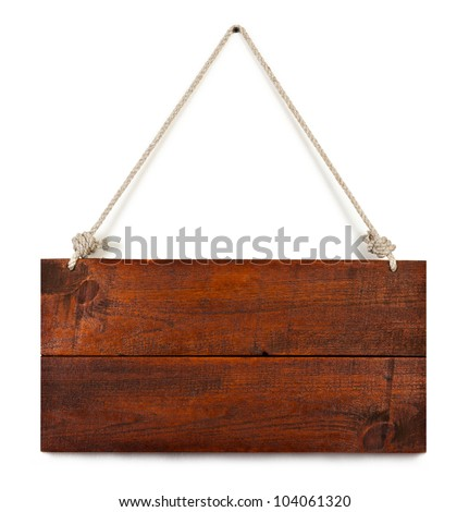 blank wood sign board on rope with space for text isolated on white