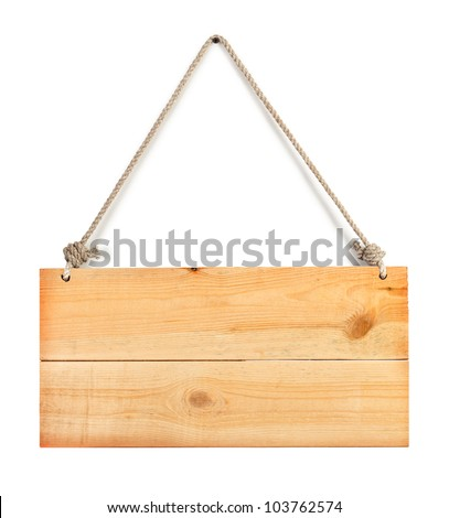 blank wood sign board with space for text isolated on white - stock photo