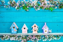 Blank wood sign with colorful birdhouses with butterfly on shelf by spring tree flowers on antique rustic teal blue wooden background; holiday background with painted copy space