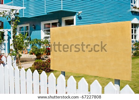 Blank wooden board for rent or sell estate