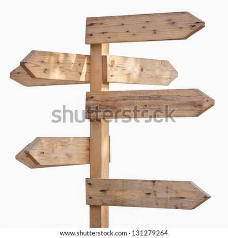 Blank wooden direction sign against white background