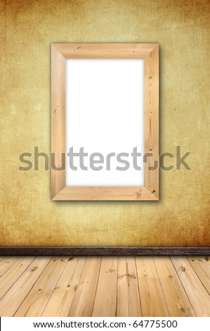 blank wooden frame for your photo or text on vintage wall in the room style