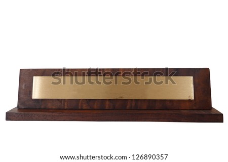 Blank wooden name plate, isolated on white