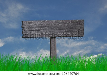 blank wooden sign and green grass on blue sky