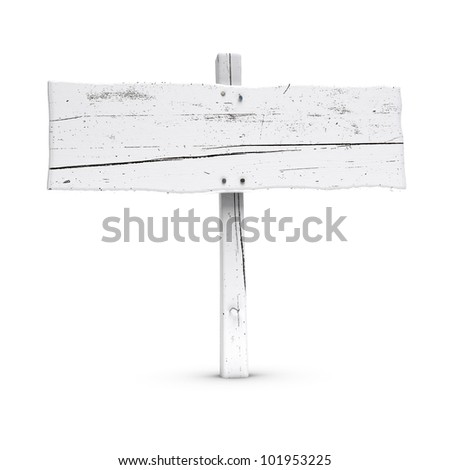 blank wooden sign painted using white color, large size, white background with nails