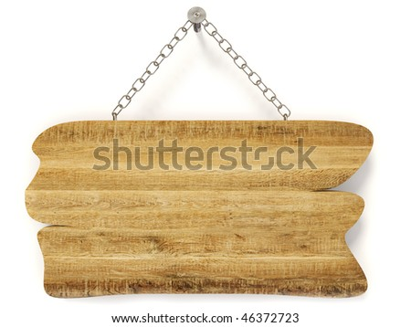 Blank wooden signboard on white