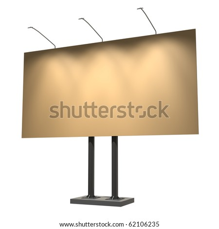 Blank yellow billboard, old style, isolated on white, 3d illustration