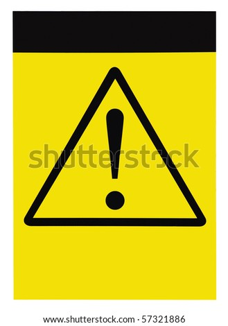 Blank yellow black triangle general caution danger warning attention sign, customizable, isolated