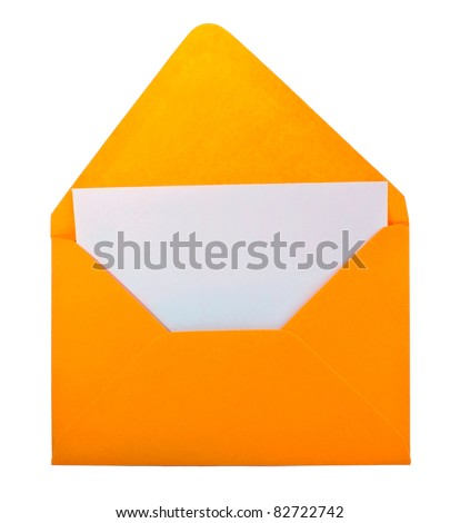 Blank yellow envelope isolated on white