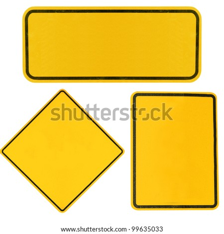 blank Yellow highway road signs isolated on white. #99635033