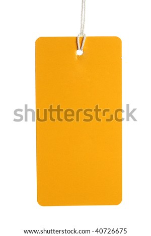blank yellow label isolated on white
